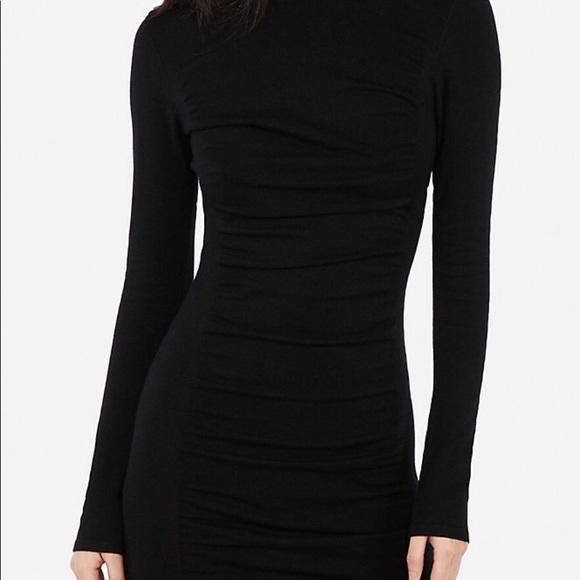 f69f2cc61d90cb Express Dresses | Black Ruched Sweater Dress Medium Nwt | Poshmark